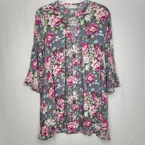 Altar'd State Oversized XS Floral Rayon Blouse